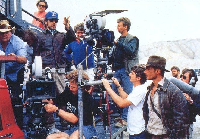Film crew from Indiana Jones and the Last Crusade including director Steven Spielberg and actor Harrison Ford