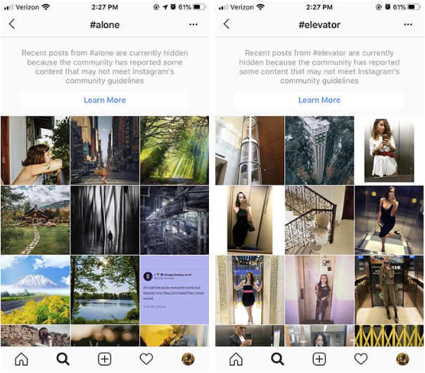 instagram alone and elevator banned hashtags