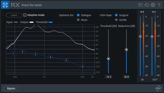 iZotope RX7 Voice De-noise in automatic mode