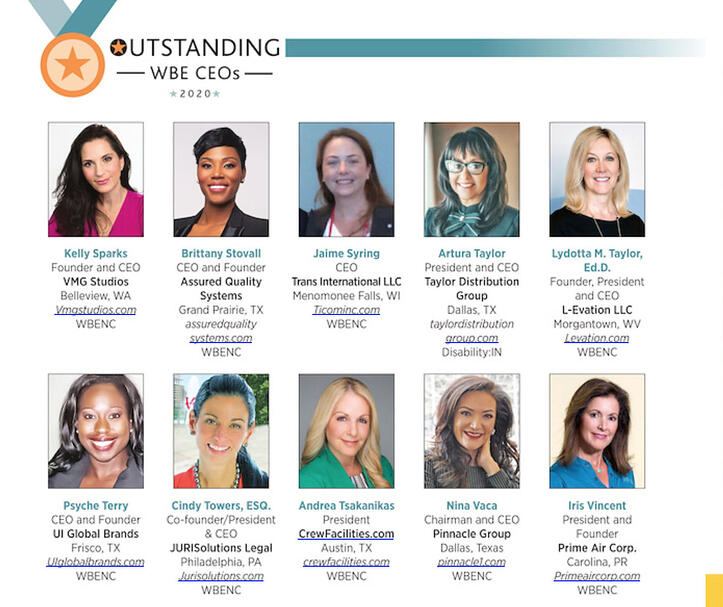 Women's Enterprise Magazine Outstanding WBE CEOs of 2020 featuring Kelly Sparks of VMG Studios