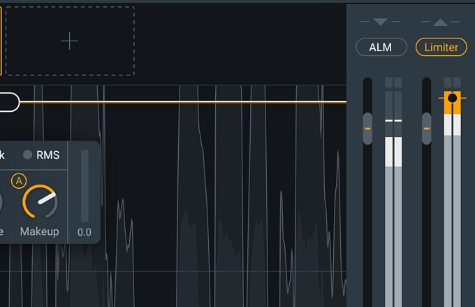 The makeup gain section of the compressor and final limiter of iZotope Nectar 3