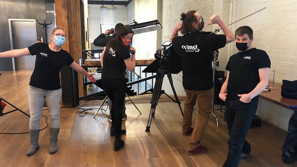 VMG Studios crew on-location video production set