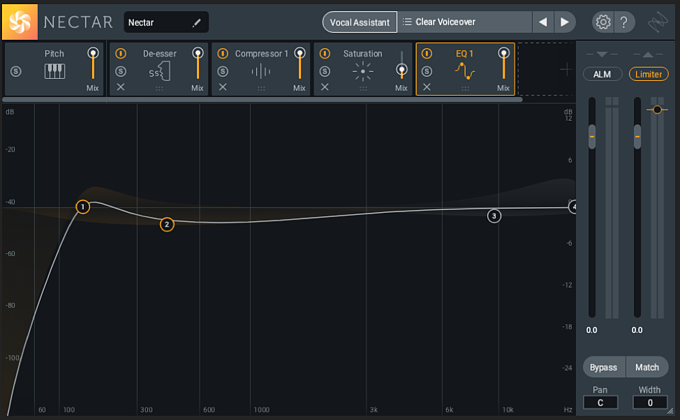 Applying a low-mid dip in iZotope Nectar 3