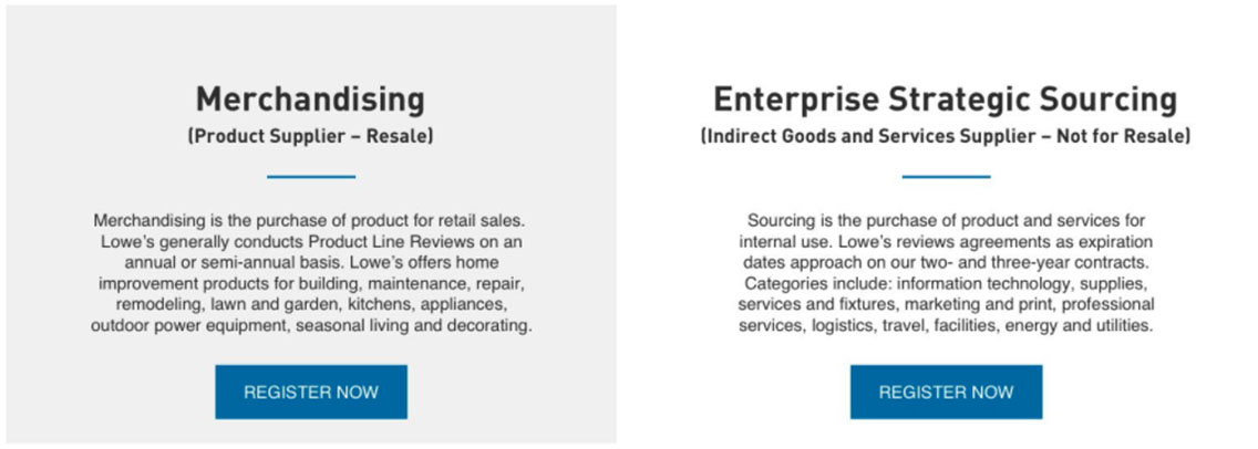 Lowe's Suppler Diversity business categories for purchasing