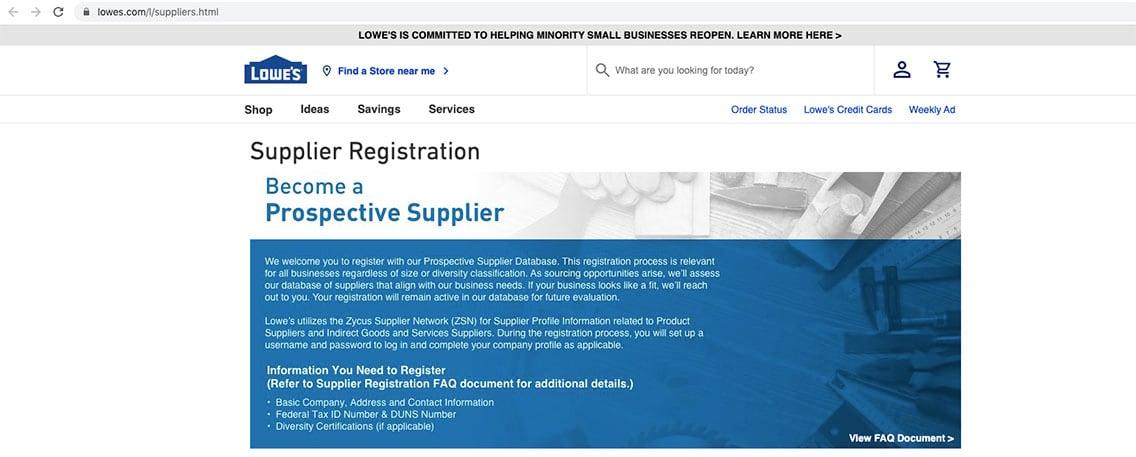 Lowe's Supplier Diversity registration portal