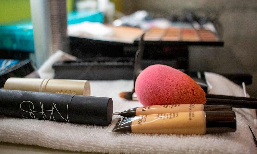 A Make-up Artist's tools, on set at VMG.