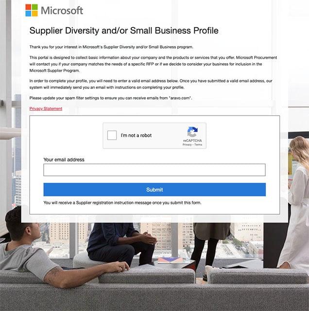Microsoft Supplier Diversity registration profile portal