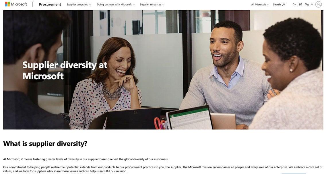 Screenshot of Microsoft's Supplier Diversity website landing page