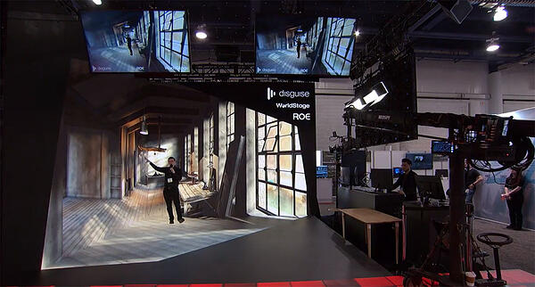 Man in mixed reality setting for a virtual event presentation