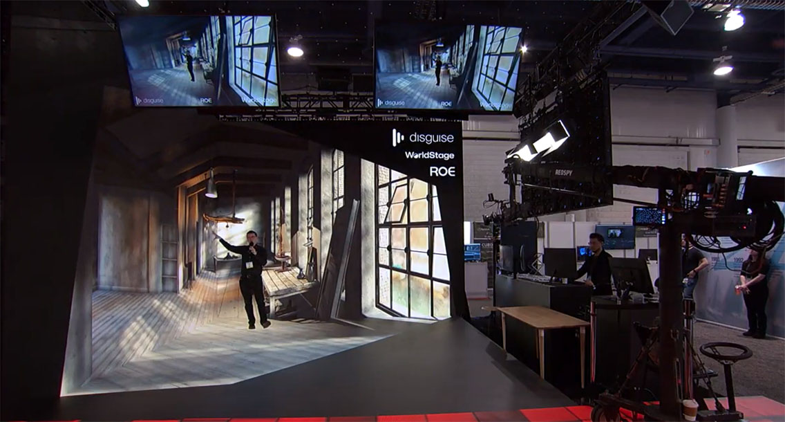 Mixed and extended reality of a video production of a man in a studio space