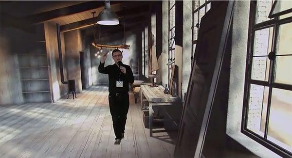 Man in mixed reality studio setting