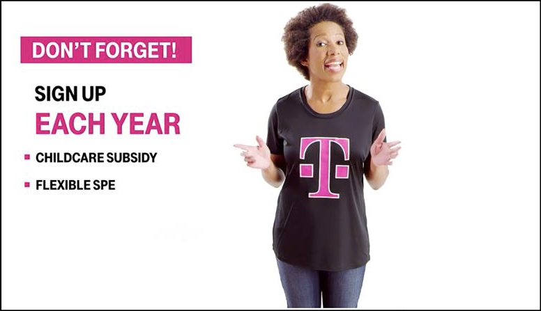 Motion graphics accompanying simple live-action shoot of a woman in a T-Mobile shirt talking to screen