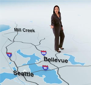 Motion tracking of a local TV newscaster standing on a map in a studio space