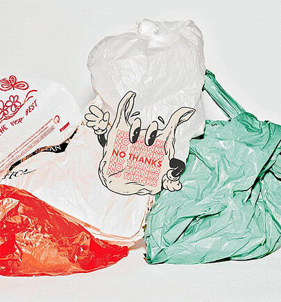 Plastic bag environmental graphic design