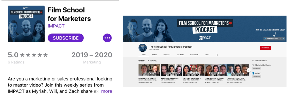 Film school for marketers podcast on Apple podcasts and YouTube