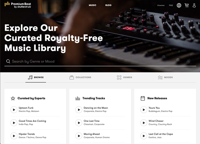 Premium Beat music library website page