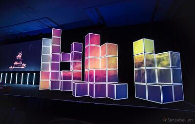 Projection mapping of stacked boxes