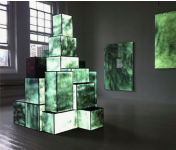 Projection mapping of stacked boxes in art gallery space