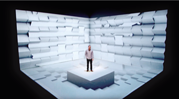 3D projection mapping of man in space as it's creating