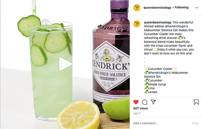 Queen Bee Mixology recipe video on Instagram produced by VMG Studios