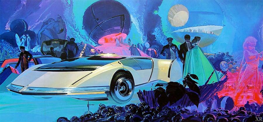 Abstract, textured retro futurism graphic design