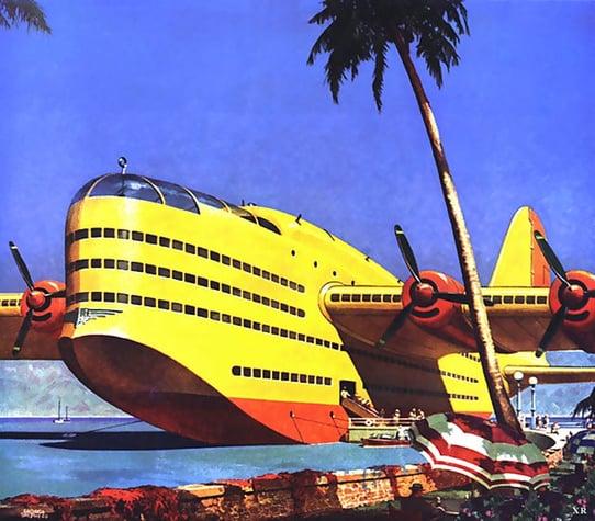 Seaplane retro futurism graphic design