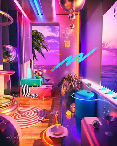 Retro futurism graphic design space room