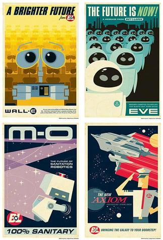 Retro futurism WALL-E style graphic design