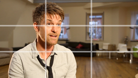 Man looking off camera for an interview-style rule of thirds webcam recording