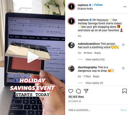 Sephora Instagram Reel example