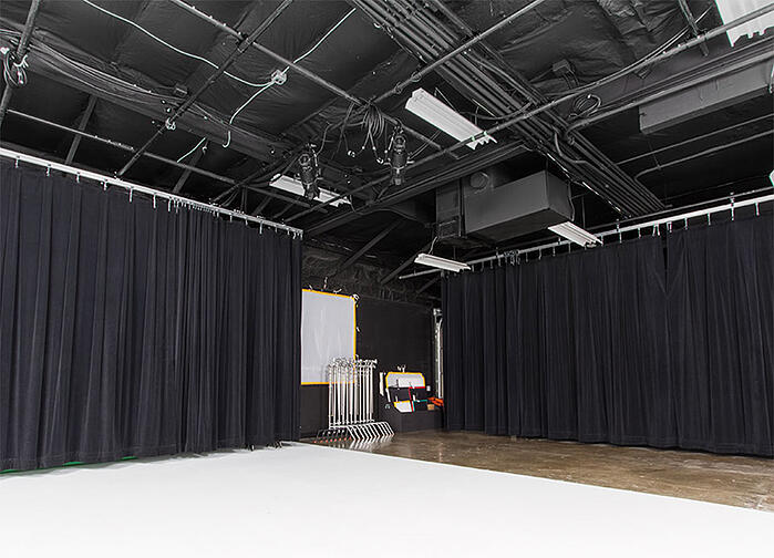 Sound reduction curtains at VMG Studios