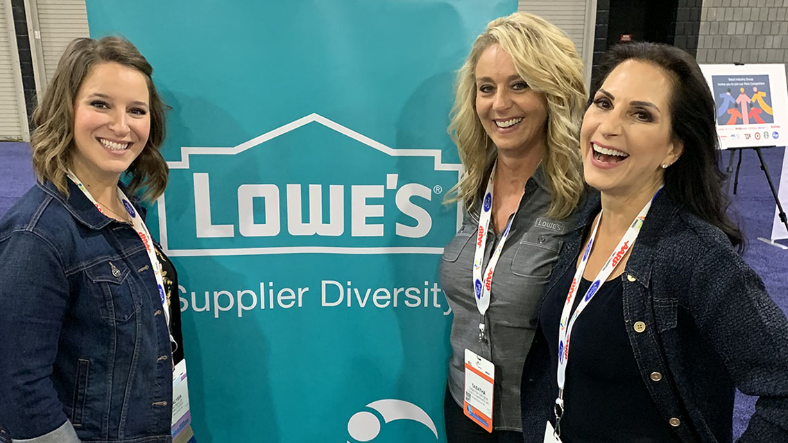 VMG Studios CEO and founder Kelly Sparks and VP of Key Accounts Alysia Lee with Lowe's Supplier Diversity Manager Tabatha Watson