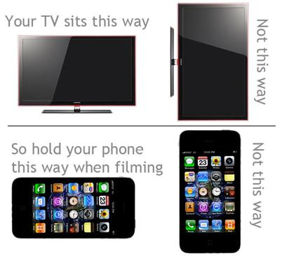 Horizontal versus vertical video recording on a smartphone