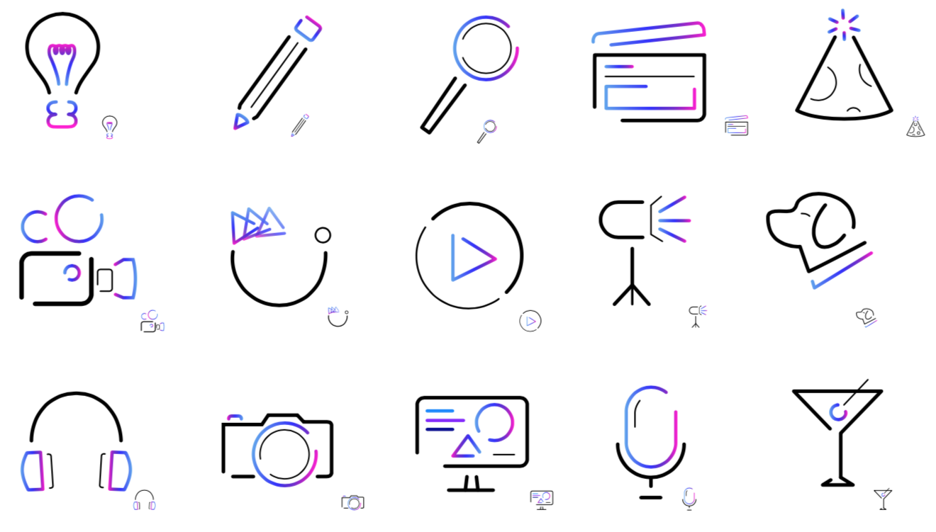 Iconography from VMG Studios including a lightbulb, pencil, clapper board, video camera, dog, headphones, still camera, microphone, and martini