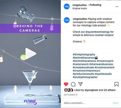 VMG Studios Instagram Reel example with Queen Bee Mixology
