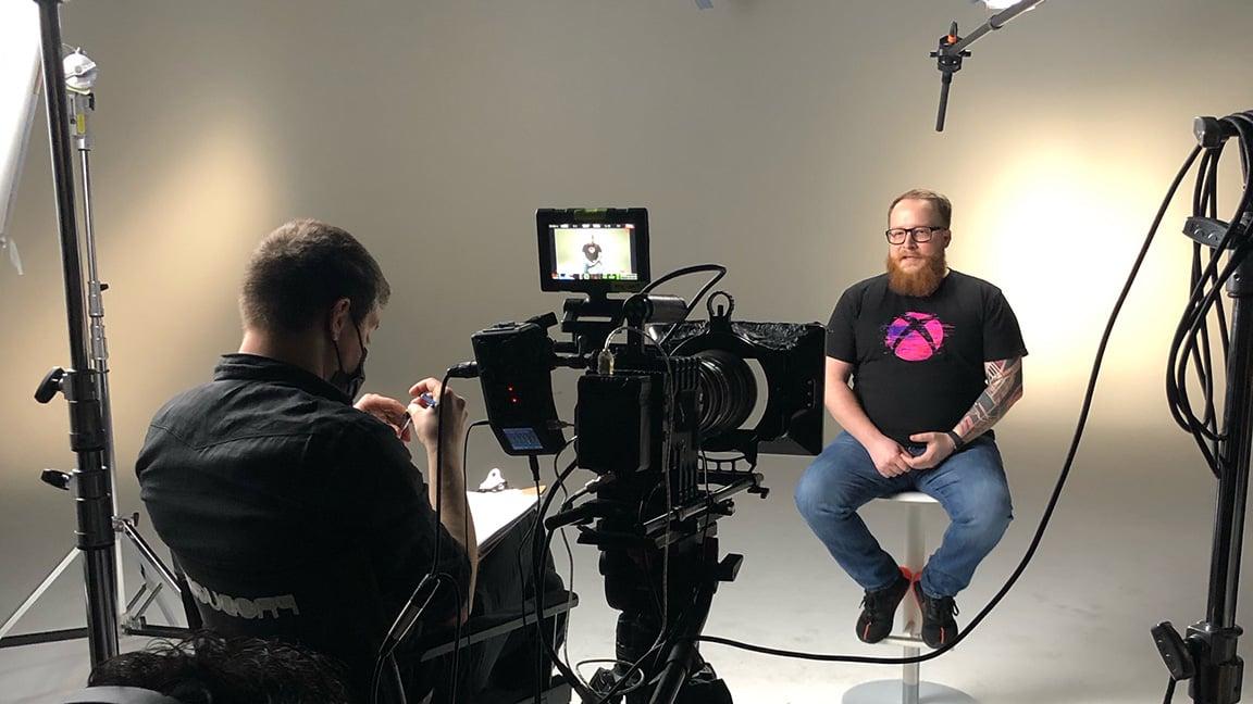 VMG Studios in-studio video production set