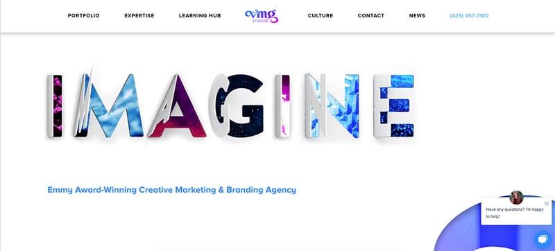 Screenshot of VMG Studios homepage of their website