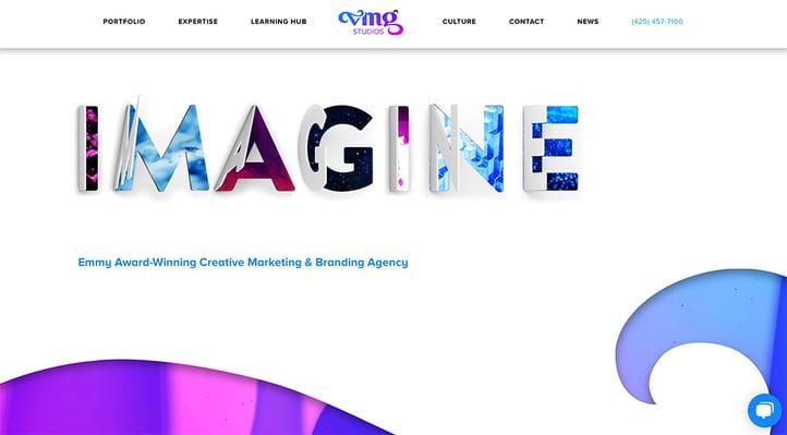 VMG Studios website design on a desktop computer