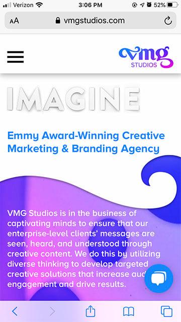 VMG Studios website design on mobile phone