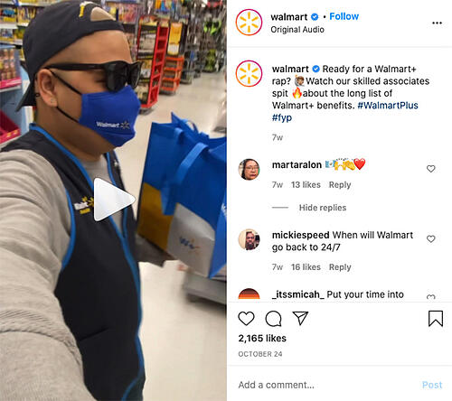 Walmart Instagram Reel example