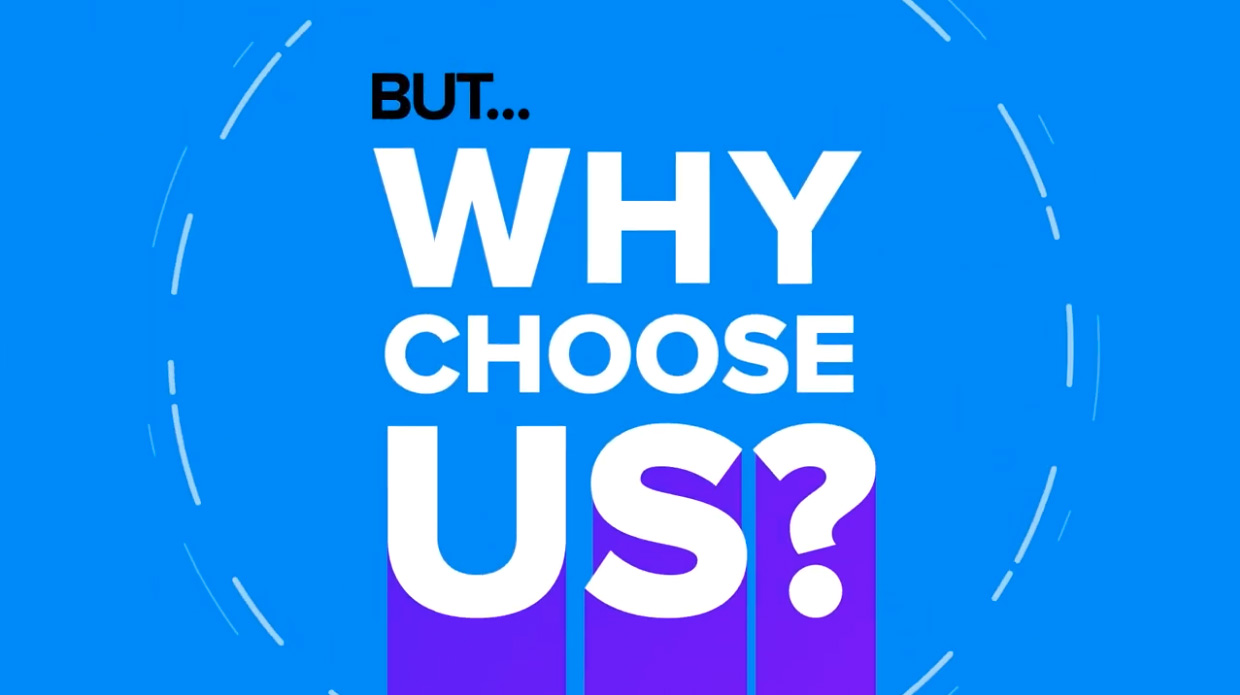 "Kinetic text: ""Why Choose Us?"" from VMG Studios' animated explainer video"