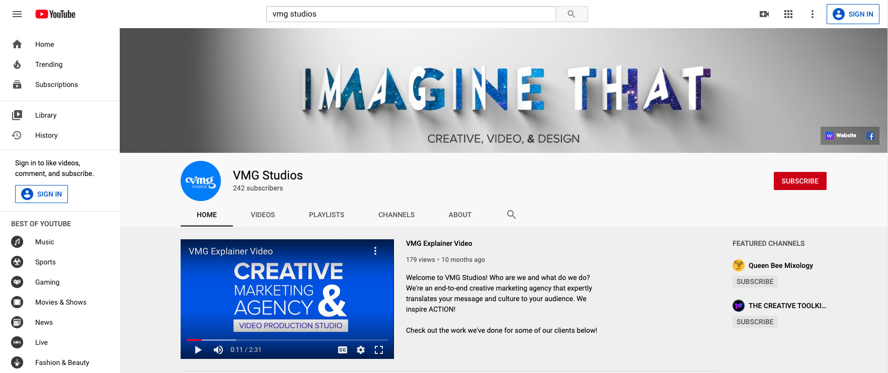 VMG Studios' YouTube channel featuring its explainer video as the channel trailer