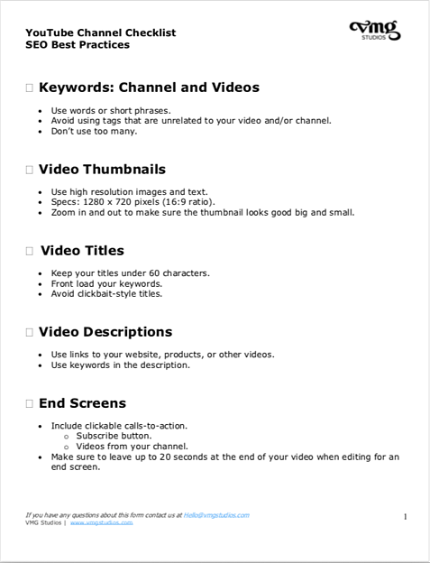 YouTube Channel Checklist SEO Best Practices CTA produced by VMG Studios