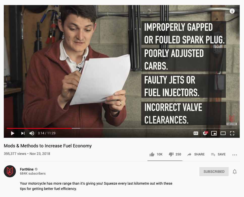 Screenshot of a YouTube video from FortNine providing educational motorcycle content